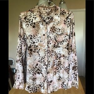 NWOT gorgeous white stag button up top size 2X